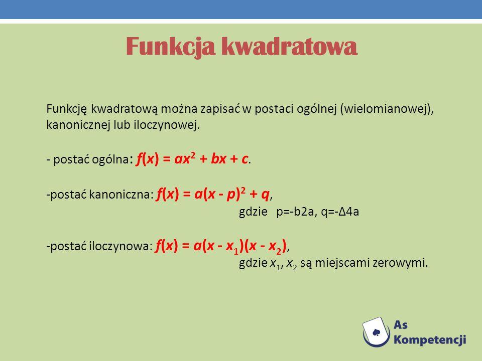 Funkcja kwadratowa Funkcję kwadratową można zapisać w postaci ogólnej (wielomianowej), kanonicznej lub iloczynowej.