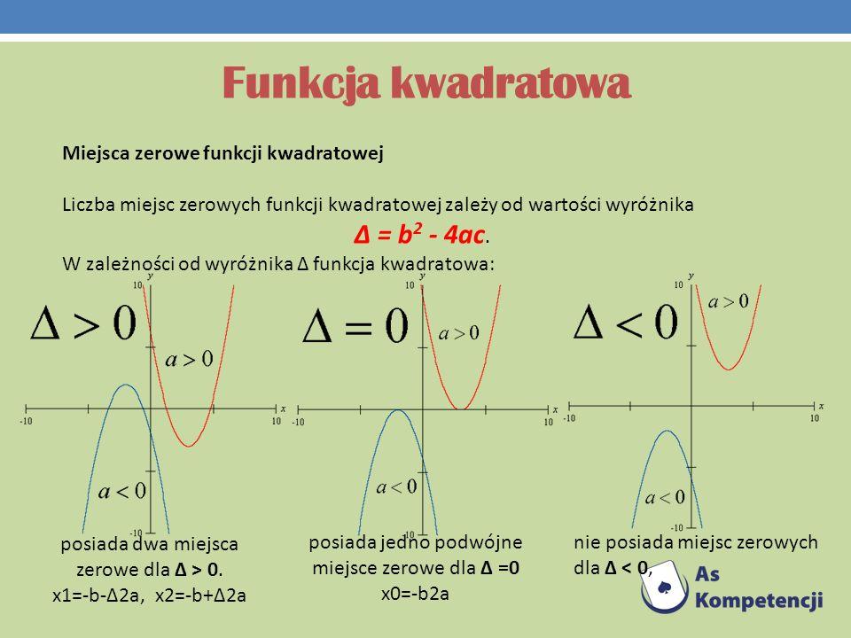 Funkcja kwadratowa Δ = b2 - 4ac. Miejsca zerowe funkcji kwadratowej