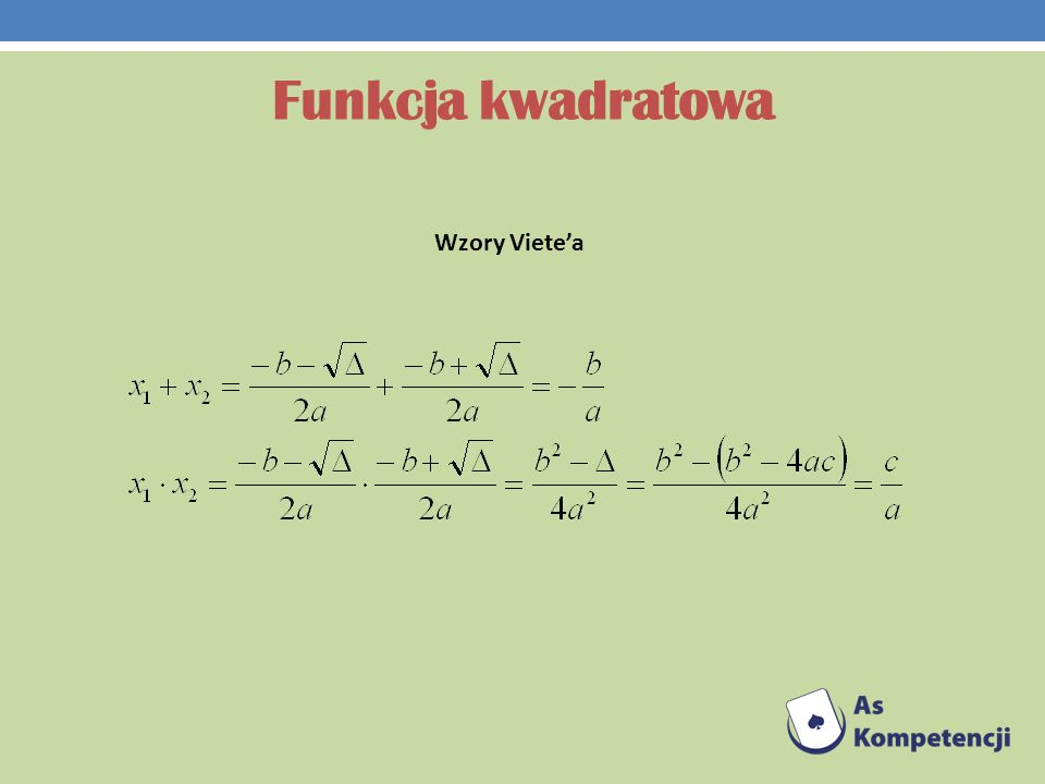 Funkcja kwadratowa Wzory Viete'a