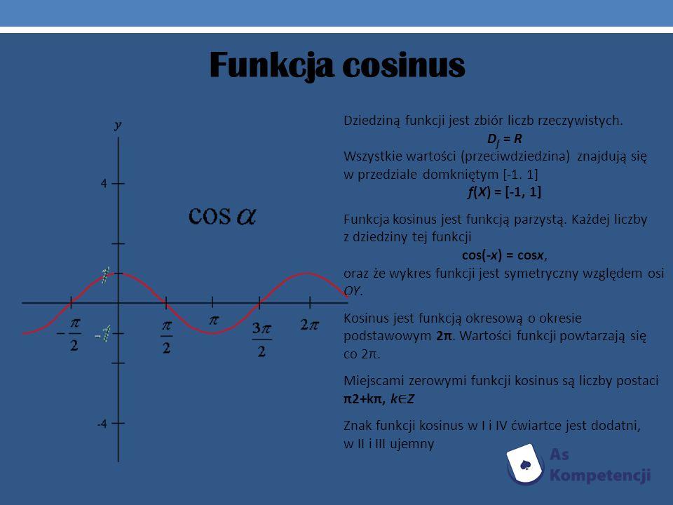 Funkcja cosinus Dziedziną funkcji jest zbiór liczb rzeczywistych.