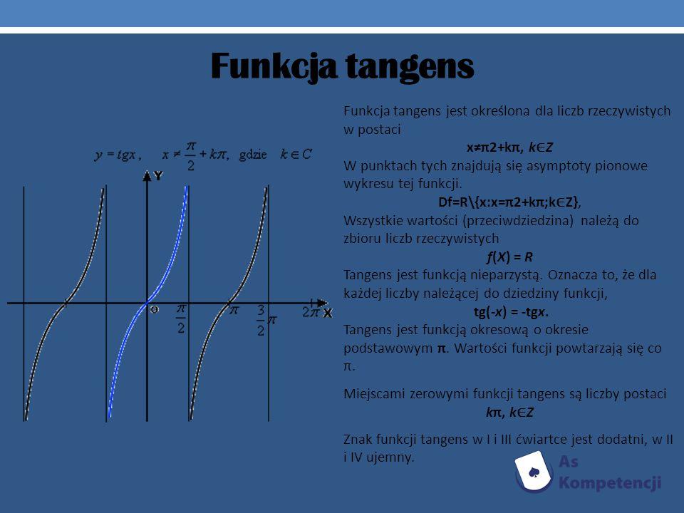 Funkcja tangens Funkcja tangens jest określona dla liczb rzeczywistych w postaci. x≠π2+kπ, k∈Z.