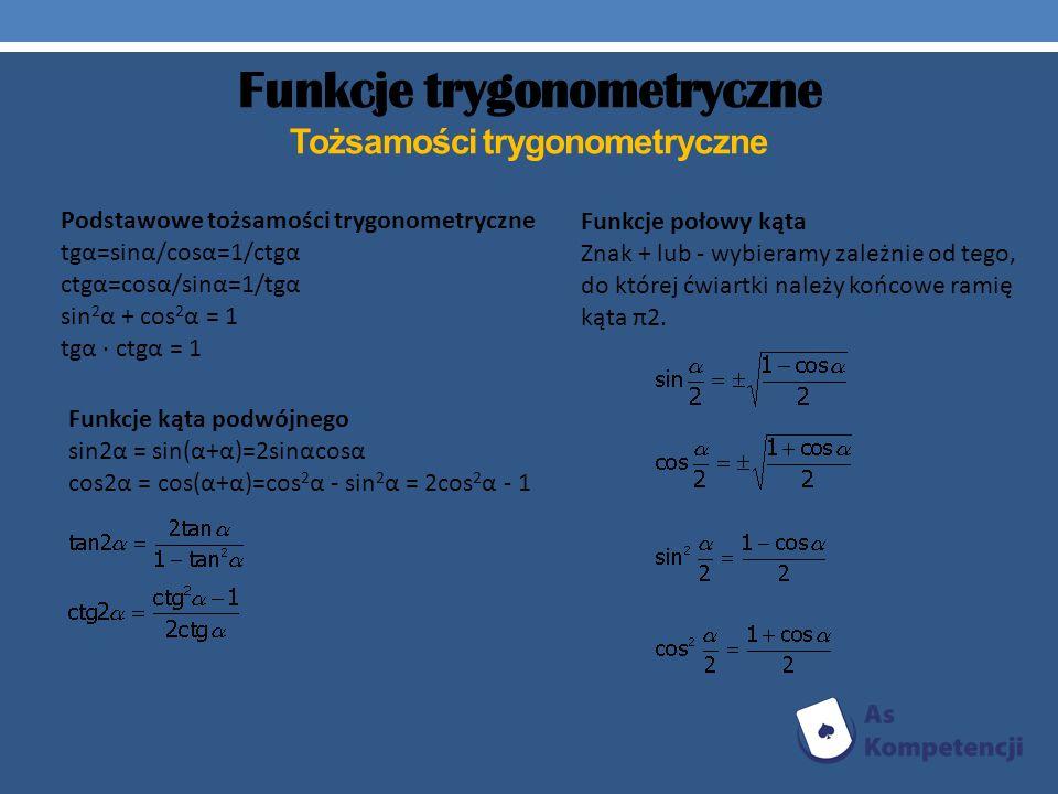 Funkcje trygonometryczne Tożsamości trygonometryczne