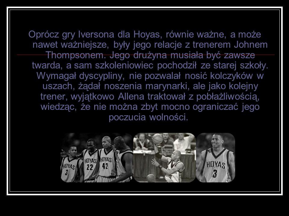 Oprócz gry Iversona dla Hoyas, równie ważne, a może nawet ważniejsze, były jego relacje z trenerem Johnem Thompsonem.