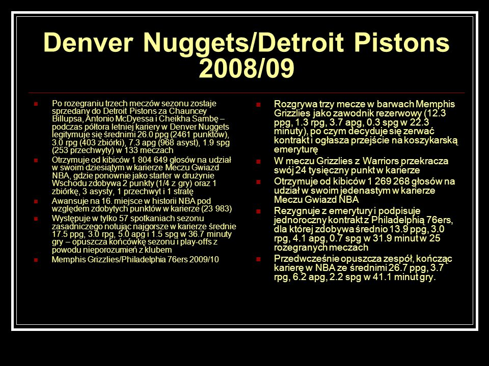 Denver Nuggets/Detroit Pistons 2008/09