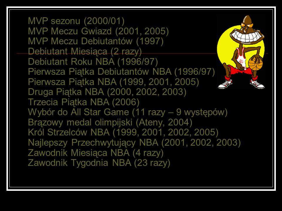 MVP sezonu (2000/01) MVP Meczu Gwiazd (2001, 2005) MVP Meczu Debiutantów (1997) Debiutant Miesiąca (2 razy) Debiutant Roku NBA (1996/97) Pierwsza Piątka Debiutantów NBA (1996/97) Pierwsza Piątka NBA (1999, 2001, 2005) Druga Piątka NBA (2000, 2002, 2003) Trzecia Piątka NBA (2006) Wybór do All Star Game (11 razy – 9 występów) Brązowy medal olimpijski (Ateny, 2004) Król Strzelców NBA (1999, 2001, 2002, 2005) Najlepszy Przechwytujący NBA (2001, 2002, 2003) Zawodnik Miesiąca NBA (4 razy) Zawodnik Tygodnia NBA (23 razy)