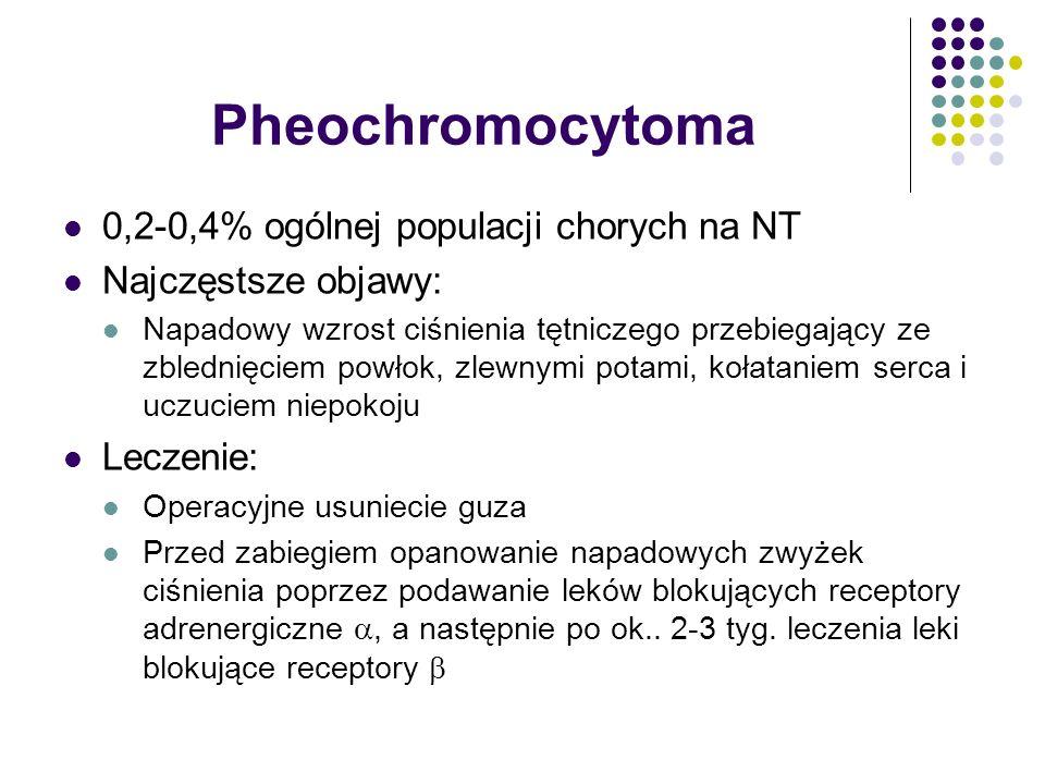 Pheochromocytoma 0,2-0,4% ogólnej populacji chorych na NT