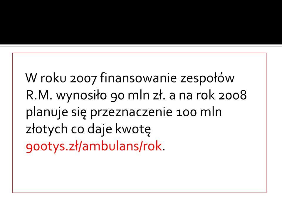 W roku 2007 finansowanie zespołów R. M. wynosiło 90 mln zł