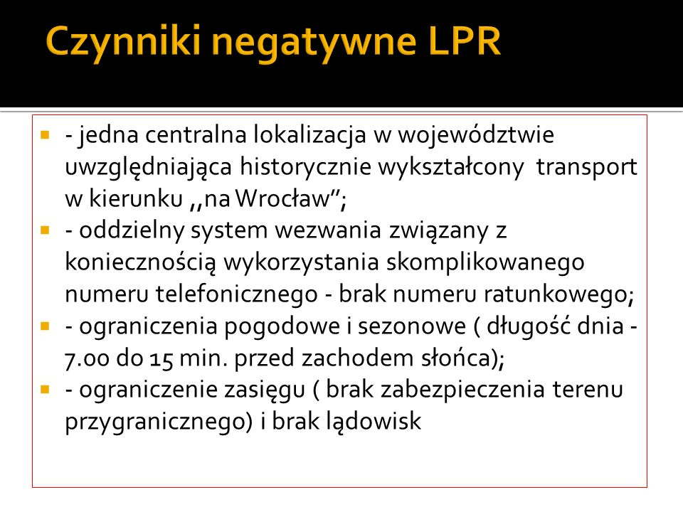 Czynniki negatywne LPR
