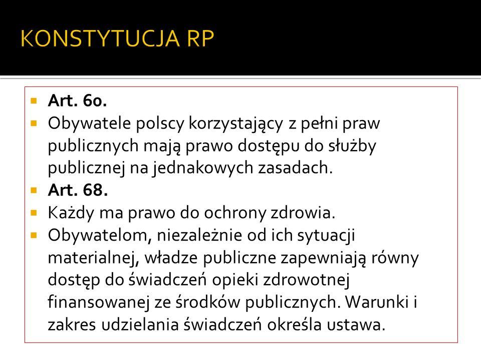 KONSTYTUCJA RP Art. 60. Obywatele polscy korzystający z pełni praw publicznych mają prawo dostępu do służby publicznej na jednakowych zasadach.