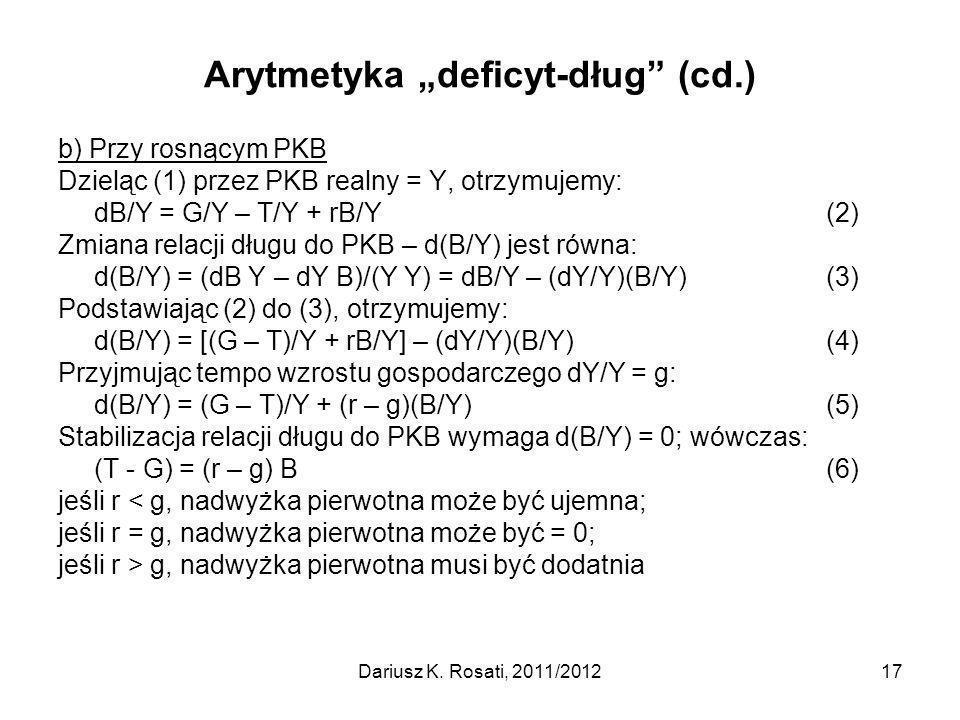 """Arytmetyka """"deficyt-dług (cd.)"""