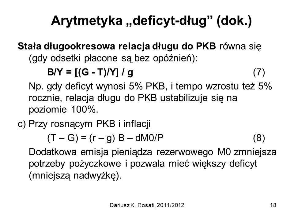 """Arytmetyka """"deficyt-dług (dok.)"""