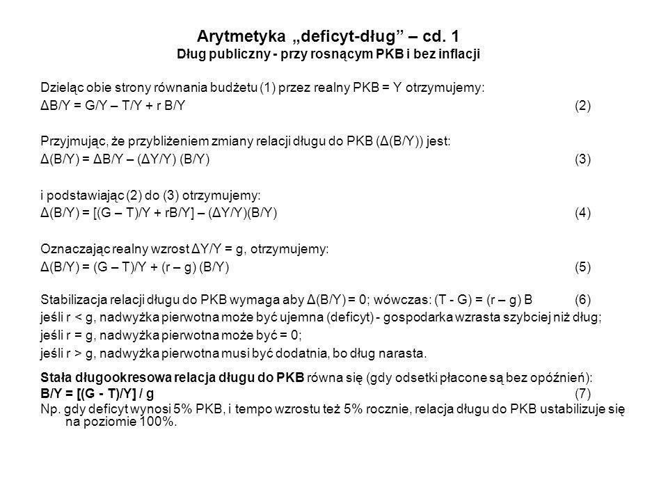"""Arytmetyka """"deficyt-dług – cd"""