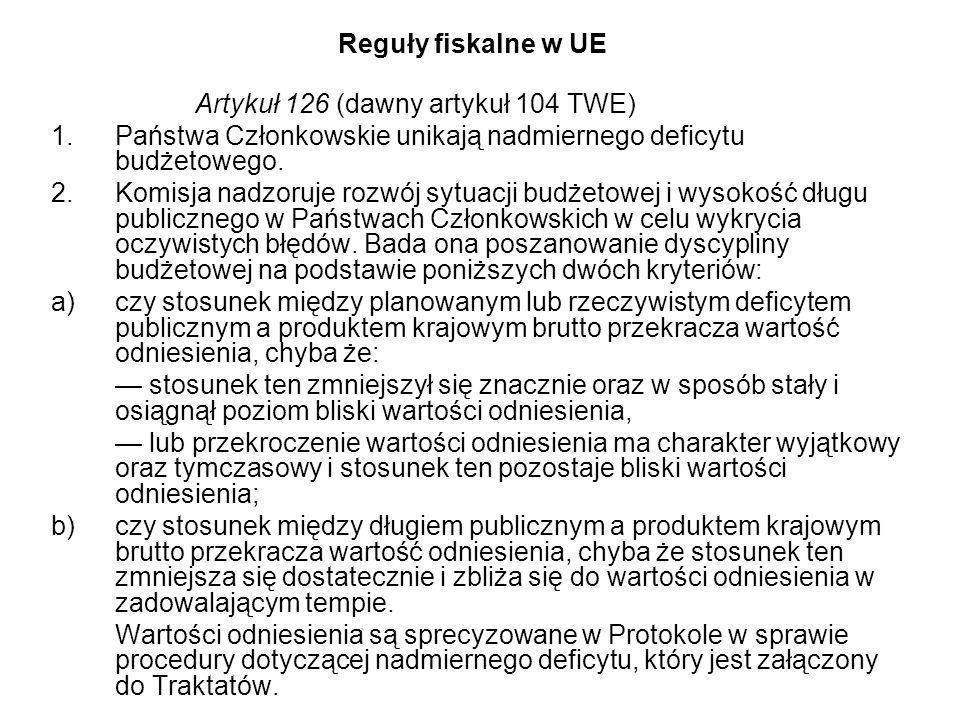 Reguły fiskalne w UE Artykuł 126 (dawny artykuł 104 TWE) Państwa Członkowskie unikają nadmiernego deficytu budżetowego.