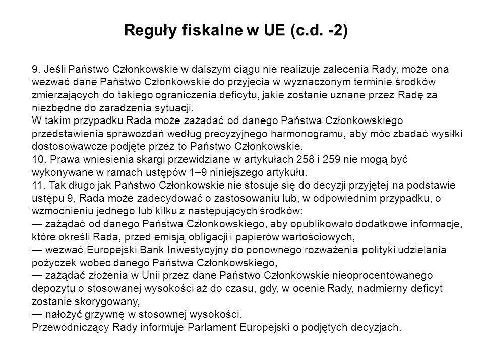 Reguły fiskalne w UE (c.d. -2)