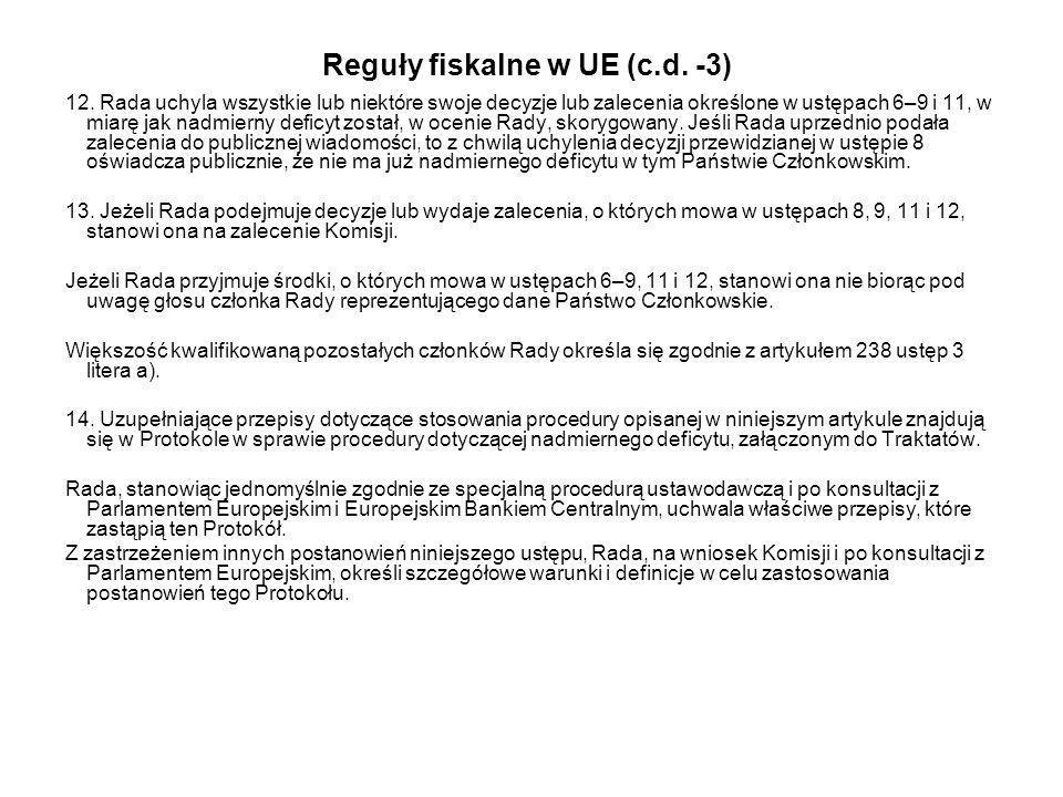 Reguły fiskalne w UE (c.d. -3)