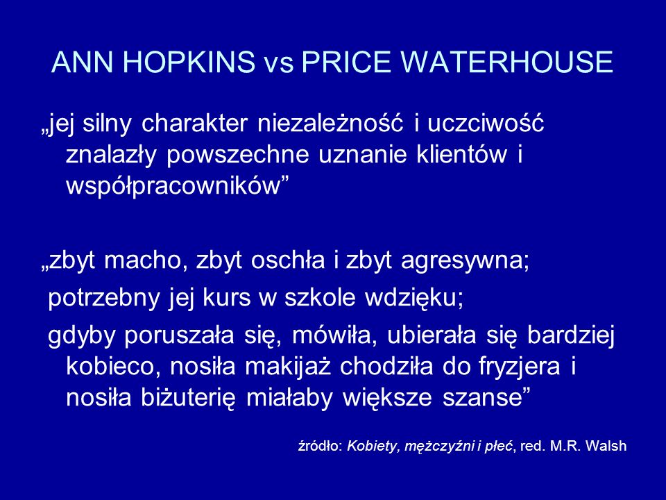 ANN HOPKINS vs PRICE WATERHOUSE