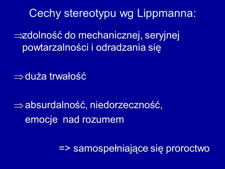 Cechy stereotypu wg Lippmanna: