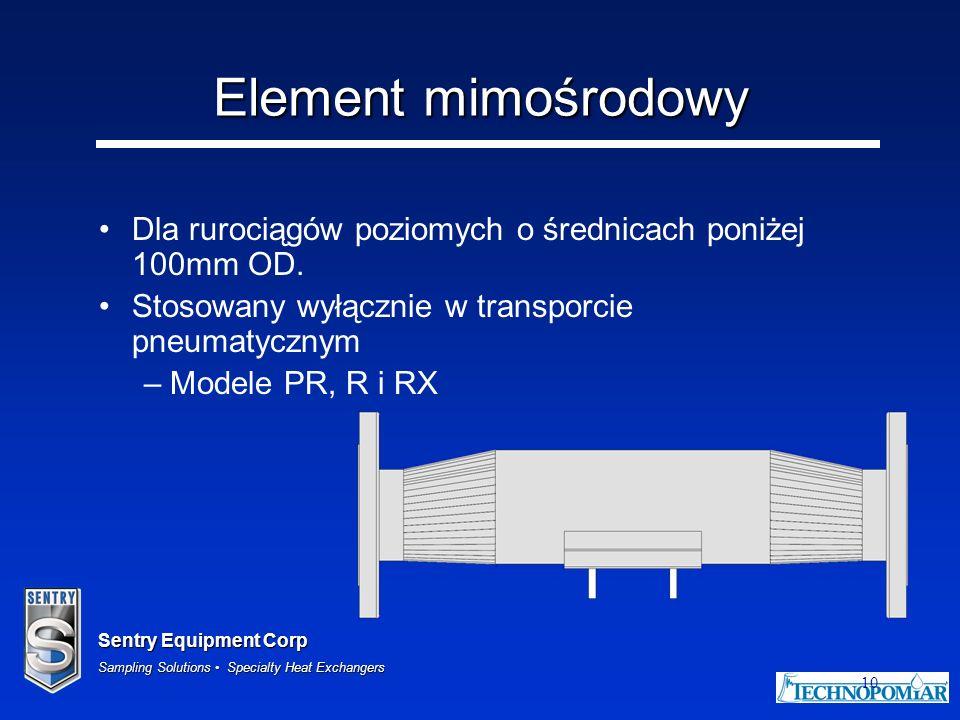 Element mimośrodowy Dla rurociągów poziomych o średnicach poniżej 100mm OD. Stosowany wyłącznie w transporcie pneumatycznym.