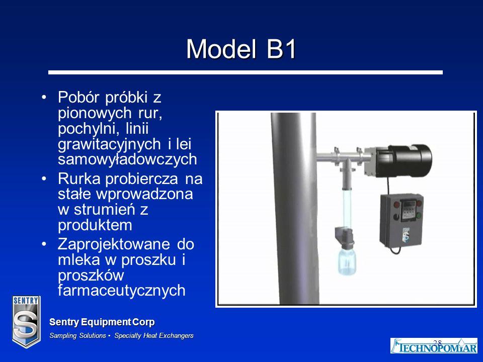 Model B1 Pobór próbki z pionowych rur, pochylni, linii grawitacyjnych i lei samowyładowczych.