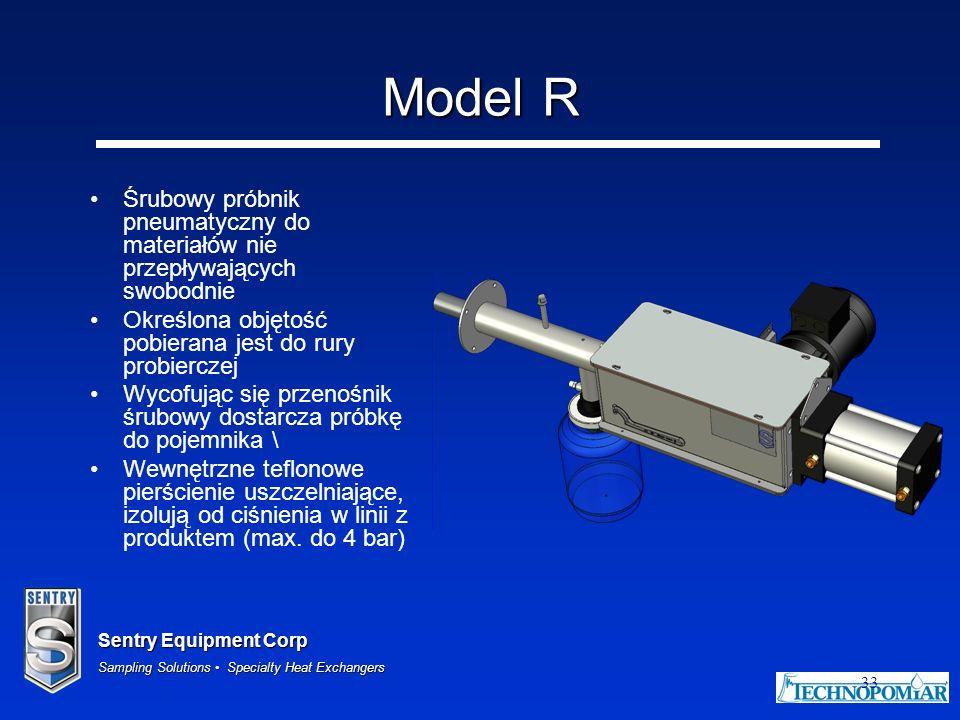 Model R Śrubowy próbnik pneumatyczny do materiałów nie przepływających swobodnie. Określona objętość pobierana jest do rury probierczej.