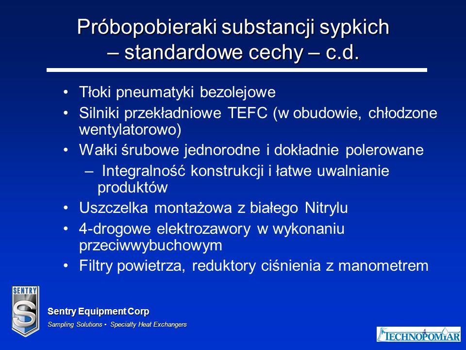 Próbopobieraki substancji sypkich – standardowe cechy – c.d.