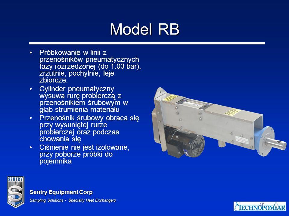 Model RB Próbkowanie w linii z przenośników pneumatycznych fazy rozrzedzonej (do 1.03 bar), zrzutnie, pochylnie, leje zbiorcze.