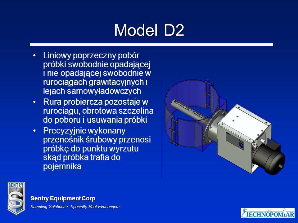 Model D2 Liniowy poprzeczny pobór próbki swobodnie opadającej i nie opadającej swobodnie w rurociągach grawitacyjnych i lejach samowyładowczych.