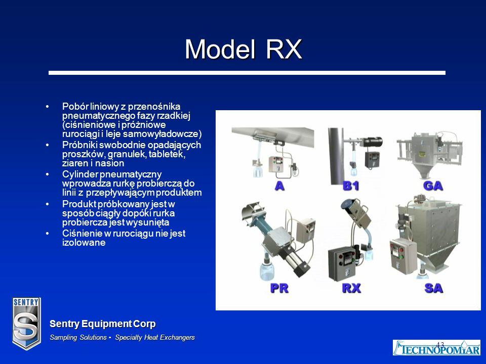 Model RX Pobór liniowy z przenośnika pneumatycznego fazy rzadkiej (ciśnieniowe i próżniowe rurociągi i leje samowyładowcze)