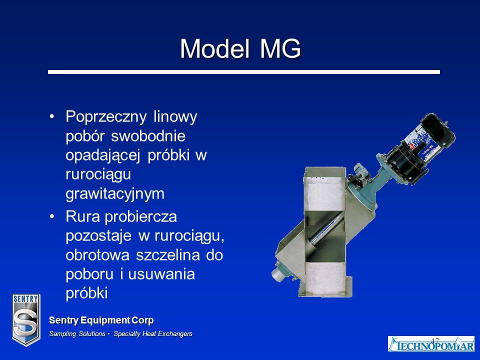 Model MG Poprzeczny linowy pobór swobodnie opadającej próbki w rurociągu grawitacyjnym.