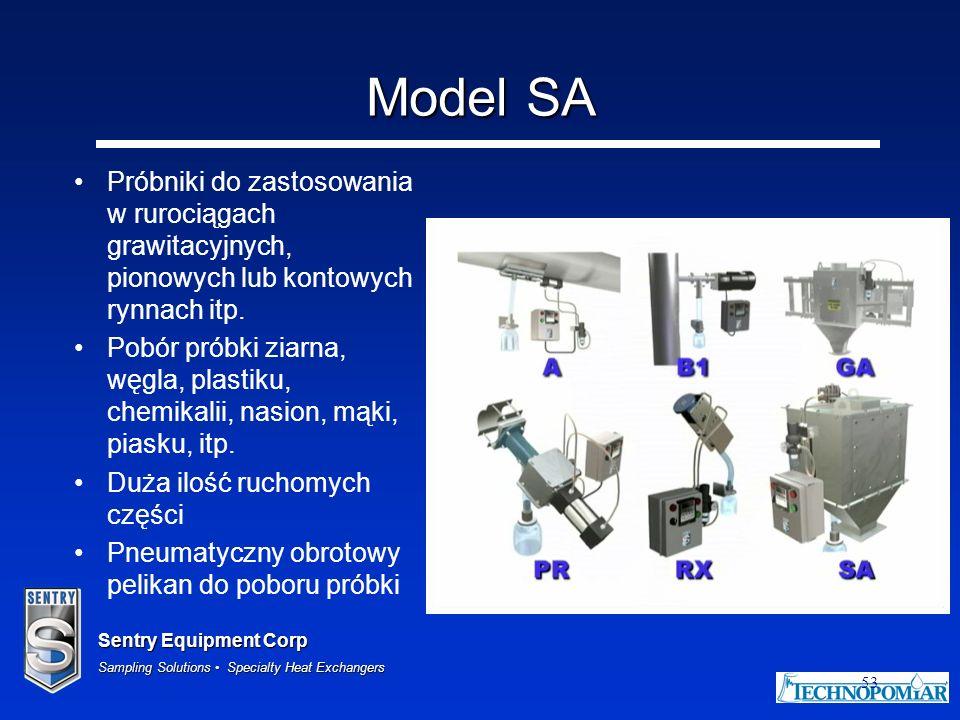 Model SA Próbniki do zastosowania w rurociągach grawitacyjnych, pionowych lub kontowych rynnach itp.