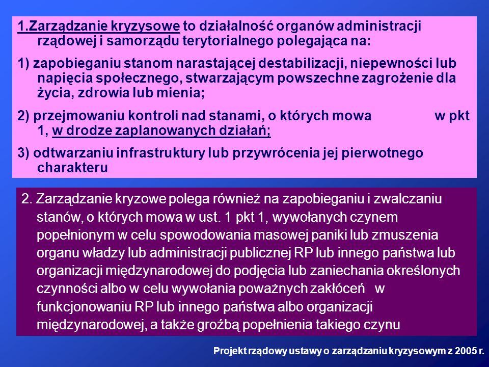 1.Zarządzanie kryzysowe to działalność organów administracji rządowej i samorządu terytorialnego polegająca na: