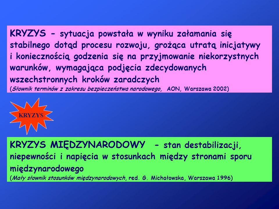 KRYZYS - sytuacja powstała w wyniku załamania się stabilnego dotąd procesu rozwoju, grożąca utratą inicjatywy i koniecznością godzenia się na przyjmowanie niekorzystnych warunków, wymagająca podjęcia zdecydowanych wszechstronnych kroków zaradczych (Słownik terminów z zakresu bezpieczeństwa narodowego, AON, Warszawa 2002)