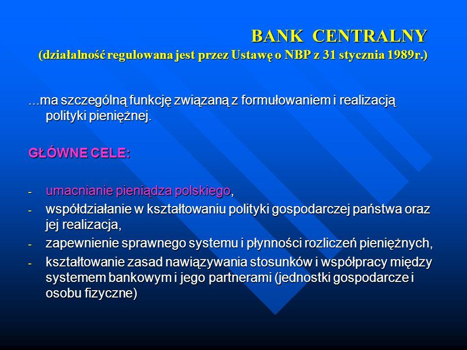 BANK CENTRALNY (działalność regulowana jest przez Ustawę o NBP z 31 stycznia 1989r.)
