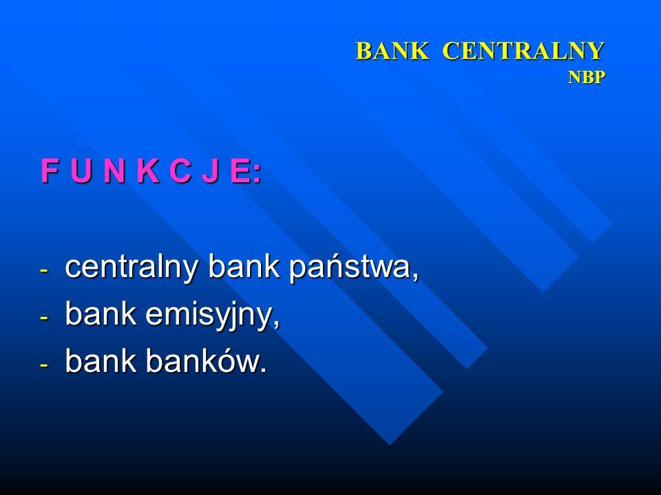 centralny bank państwa, bank emisyjny, bank banków.