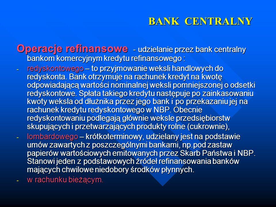 BANK CENTRALNY Operacje refinansowe - udzielanie przez bank centralny bankom komercyjnym kredytu refinansowego :