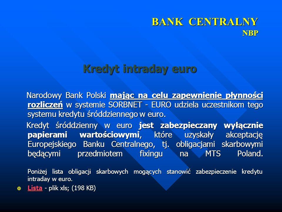 BANK CENTRALNY NBP Kredyt intraday euro
