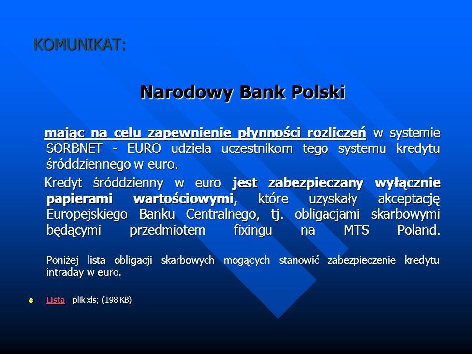 KOMUNIKAT: Narodowy Bank Polski