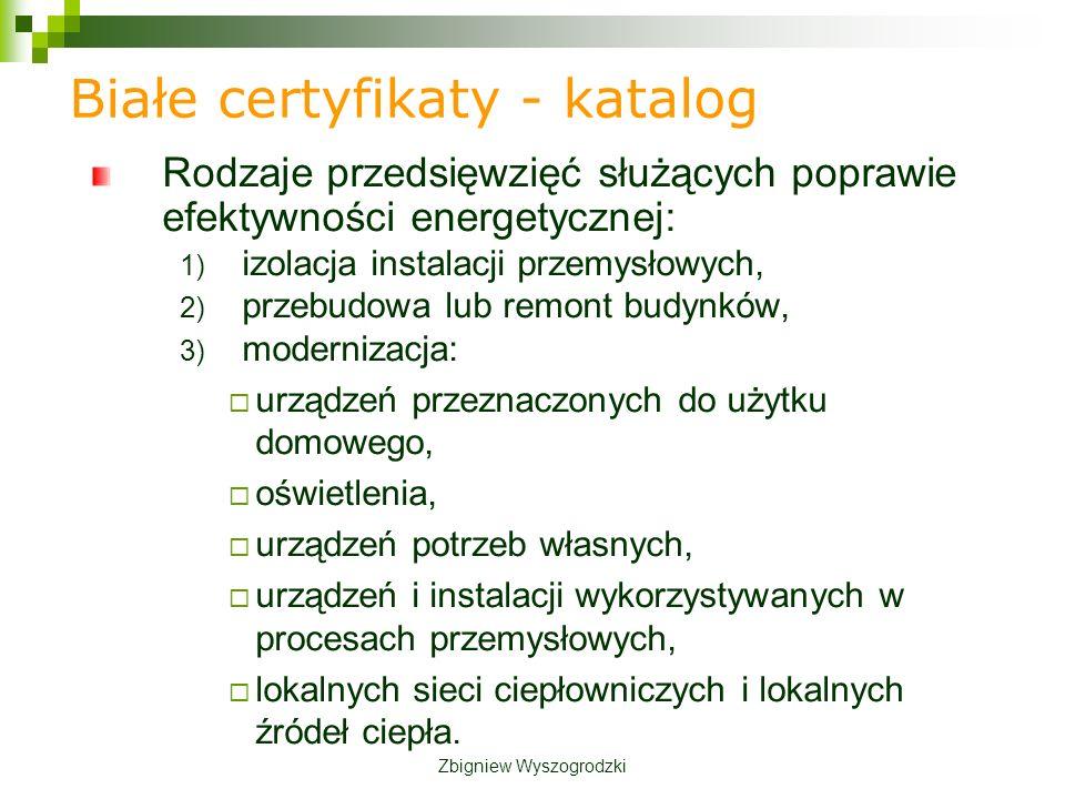 Białe certyfikaty - katalog