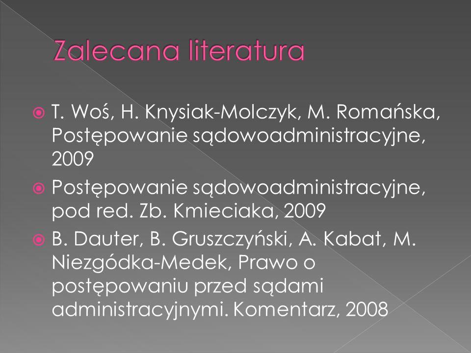 Zalecana literatura T. Woś, H. Knysiak-Molczyk, M. Romańska, Postępowanie sądowoadministracyjne, 2009.