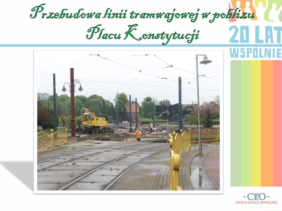 Przebudowa linii tramwajowej w poblizu Placu Konstytucji