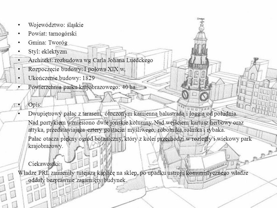 Województwo: śląskie Powiat: tarnogórski. Gmina: Tworóg. Styl: eklektyzm. Architekt: rozbudowa wg Carla Johana Luedckego.