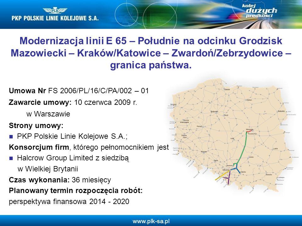 Modernizacja linii E 65 – Południe na odcinku Grodzisk Mazowiecki – Kraków/Katowice – Zwardoń/Zebrzydowice – granica państwa.