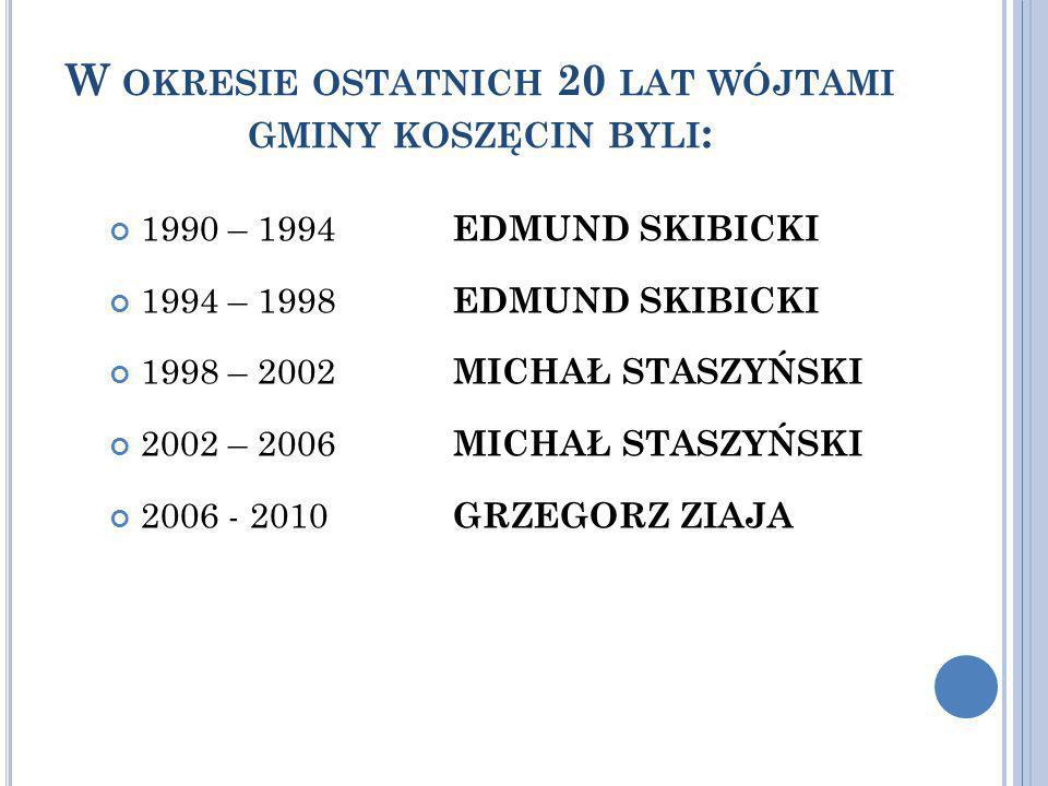 W okresie ostatnich 20 lat wójtami gminy koszęcin byli: