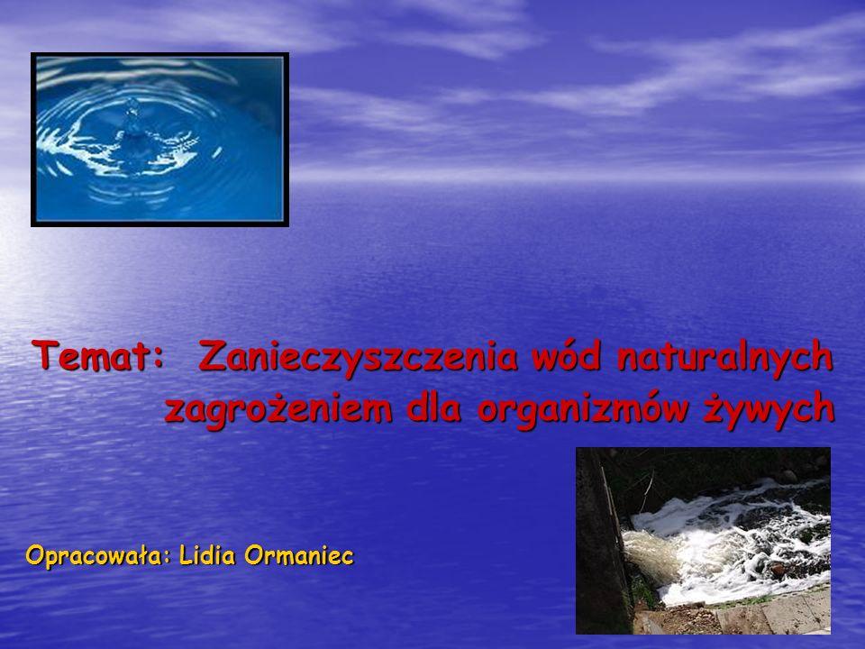 Temat: Zanieczyszczenia wód naturalnych
