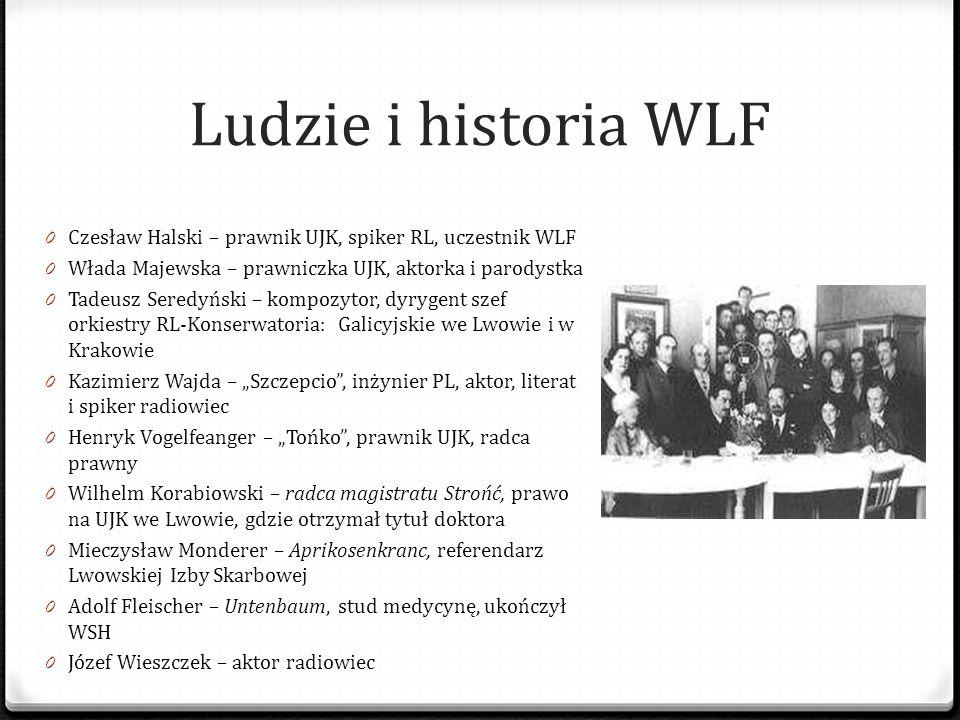 Ludzie i historia WLF Czesław Halski – prawnik UJK, spiker RL, uczestnik WLF. Włada Majewska – prawniczka UJK, aktorka i parodystka.