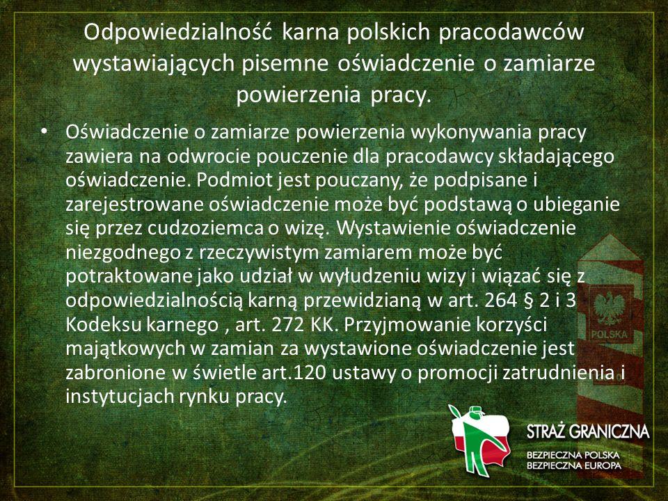 Odpowiedzialność karna polskich pracodawców wystawiających pisemne oświadczenie o zamiarze powierzenia pracy.