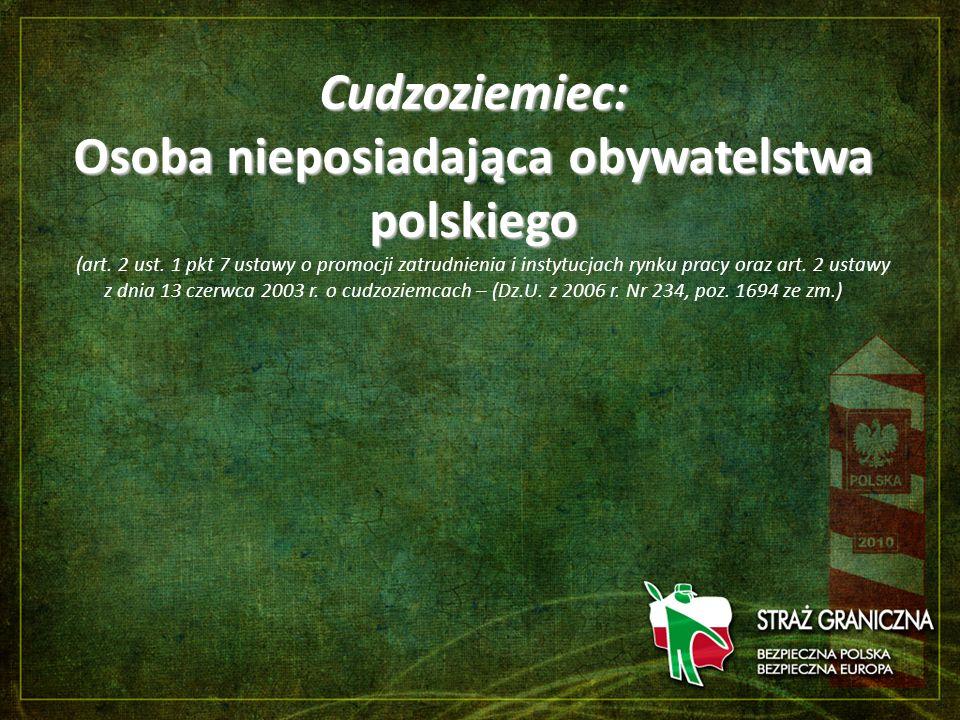 Cudzoziemiec: Osoba nieposiadająca obywatelstwa polskiego (art. 2 ust