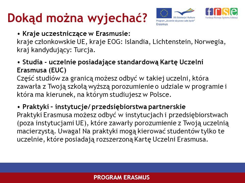 Dokąd można wyjechać Kraje uczestniczące w Erasmusie: