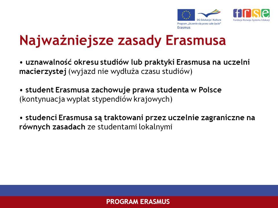 Najważniejsze zasady Erasmusa