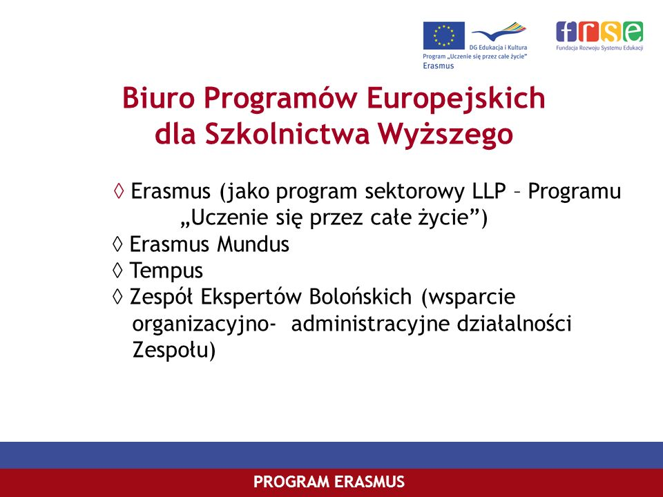 Biuro Programów Europejskich dla Szkolnictwa Wyższego